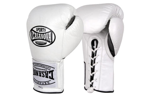 Casanova Boxing® Professional Lace Up Fight Gloves - White