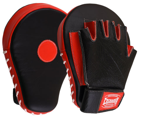 Casanova Boxing® Professional Fingerless Focus Mitt - Black/Red