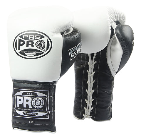 Pro Boxing® Series Gel Lace Gloves - White/Black with Black Thumb