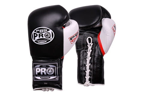 Pro Series Gel Lace Gloves - 16 OZ Black/White