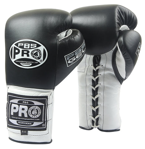 Pro Boxing® Series Gel Lace Gloves - Black/White with Black Thumb