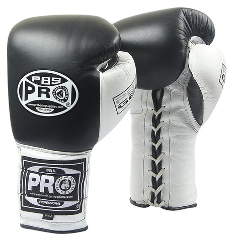 Pro Boxing® Series Gel Lace Gloves - Black/White with White Thumb