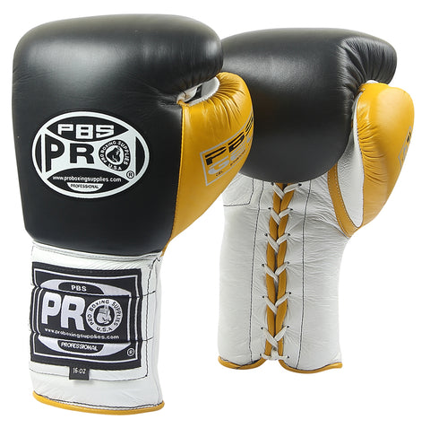 Pro Boxing® Series Gel Lace Gloves - Black/White with Yellow Thumb