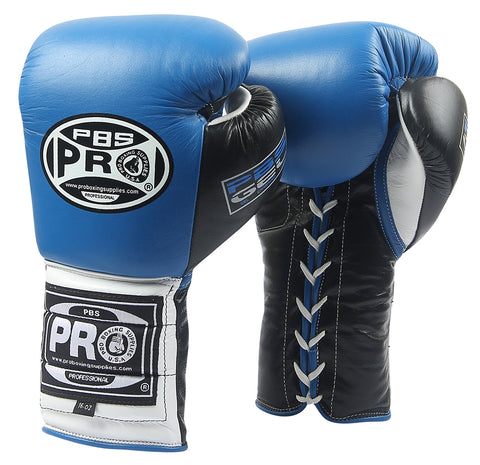 Pro Boxing® Series Gel Lace Gloves -  Blue/Black with Black Thumb