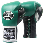 Pro Boxing® Series Gel Lace Gloves - Green/Black with Black Thumb