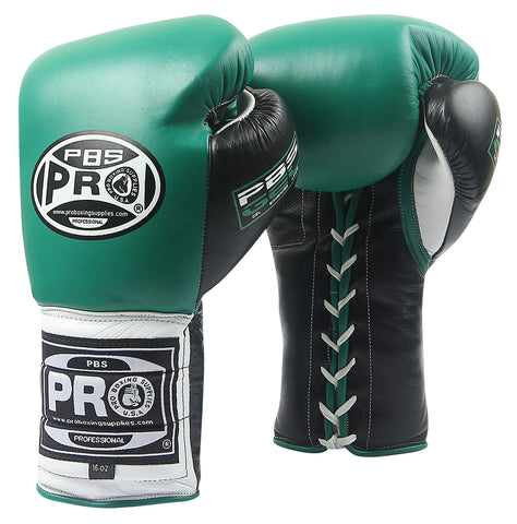 Pro Series Gel Lace Gloves - PBG 004 Green/Black with Black Thumb