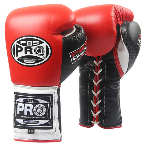 Pro Series Gel Lace Gloves - PBG 004 Red/Black with Black Thumb