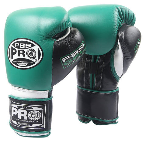 Pro Boxing® Series Gel Velcro Gloves - PBG Green/Black with Black Thumb