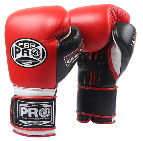 Pro Series Gel Velcro Gloves - PBG Red/Black with Black Thumb