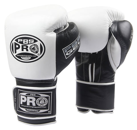 Pro Boxing® Series Gel Hook and Loop Gloves - PBG White/Black with Black Thumb