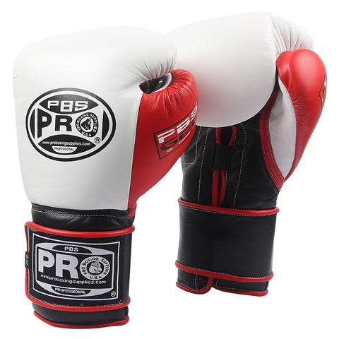 Pro Series Gel Velcro Gloves - PBG White/Black with Red Thumb