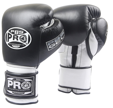 Pro Boxing® Series Gel Hook and Loop Gloves - PBG Black/White with Black Thumb