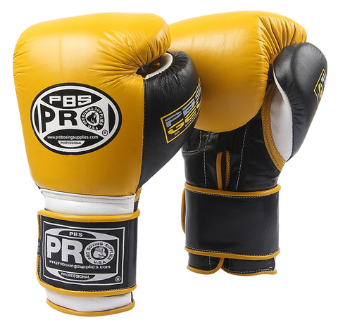 Pro Boxing® Series Gel Velcro Gloves - PBG Yellow/Black with Black Thumb