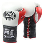 Pro Boxing® Series Gel Lace Gloves - White/Black with Red Thumb