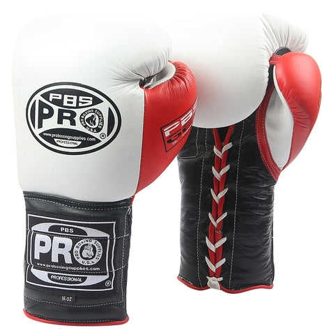 Pro Series Gel Lace Gloves - PBG 004 White/Black with Red Thumb