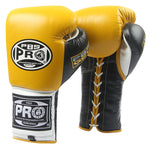 Pro Boxing® Series Gel Lace Gloves -  Yellow/Black with Black Thumb