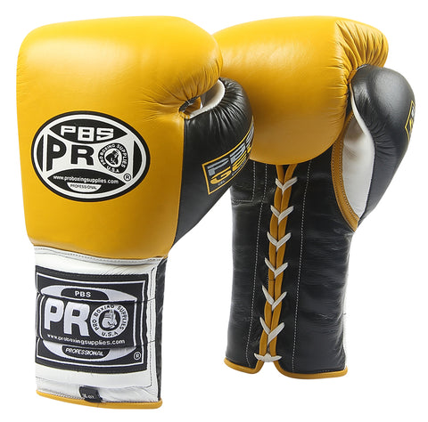 Pro Series Gel Lace Gloves - PBG 004 Yellow/Black with Black Thumb