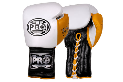 Pro Boxing® Series Gel Lace Gloves -  White/Black with Yellow Thumb