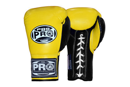 Pro Boxing® Official Pro Fight Gloves - Black/Yellow