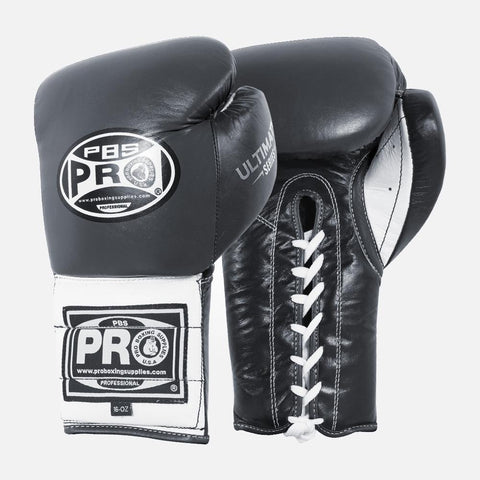 Pro Boxing® Ultimate Lace-Up Boxing Gloves – Black/White