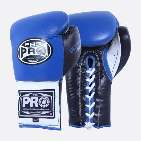 Pro Boxing® Ultimate Lace-Up Boxing Gloves – Blue/Black