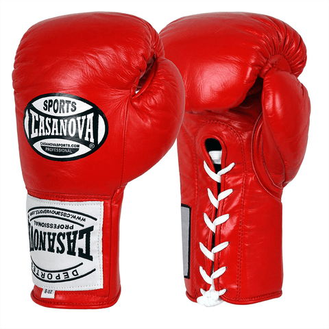 Casanova Boxing® Professional Lace Up Fight Gloves - Red