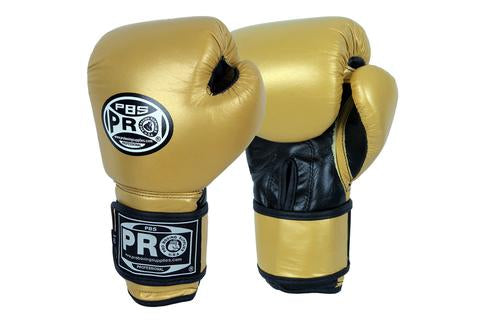 PRO BOXING® CLASSIC LEATHER TRAINING GLOVES - GOLD