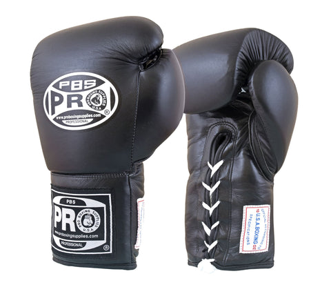 Pro Boxing® Amateur Competition Lace Up Gloves - Black