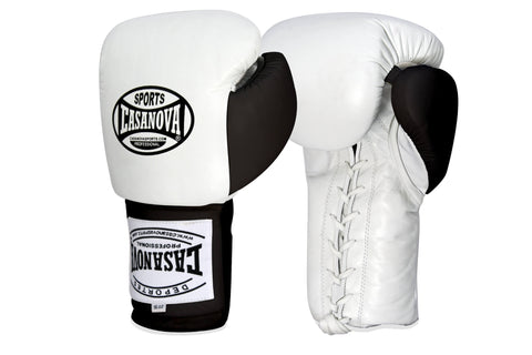 Casanova Boxing® Professional Lace Up Fight Gloves - White/Black Thumb