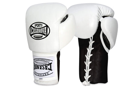 Casanova Boxing® Professional Lace Up Fight Gloves - White/Black