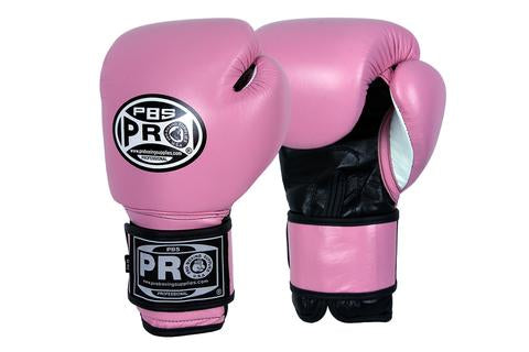 PRO BOXING® CLASSIC LEATHER TRAINING GLOVES - PINK