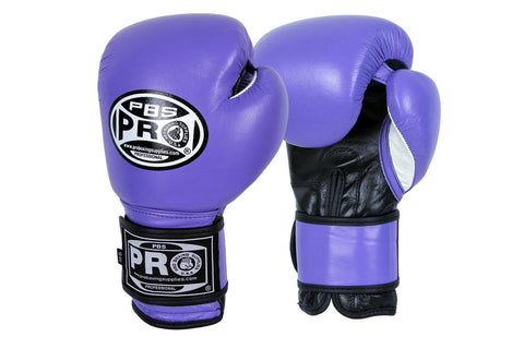 PRO BOXING® CLASSIC LEATHER TRAINING GLOVES - PURPLE