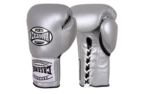 Casanova Boxing® Professional Lace Up Fight Gloves - Silver