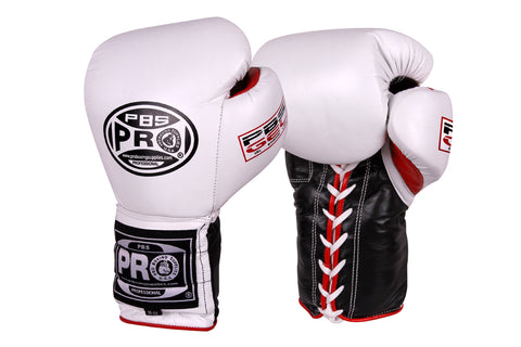 Pro Boxing® Series Gel Lace Gloves - White/Black with White Thumb