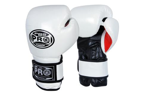 PRO BOXING® CLASSIC LEATHER TRAINING GLOVES - WHITE