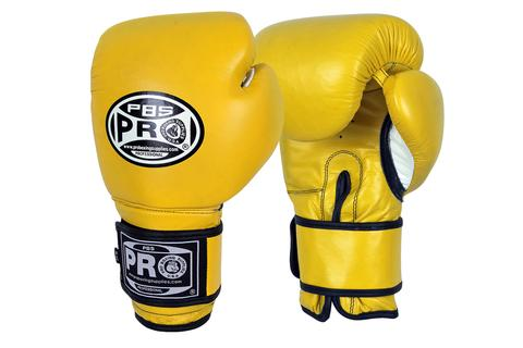 PRO BOXING® CLASSIC LEATHER TRAINING GLOVES - YELLOW