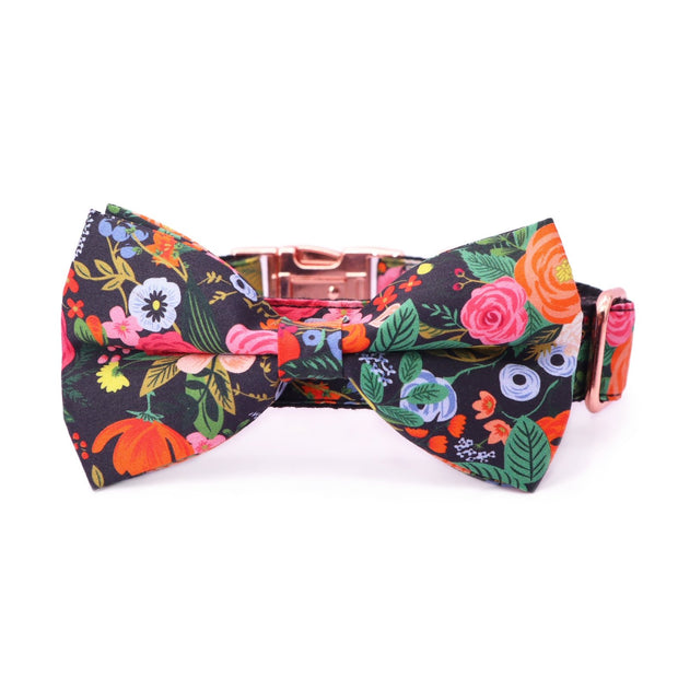Midnight Floral Bow Tie Collar - Sniff & Bark