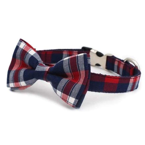 Red Plaid Bow Tie Collar - Sniff & Bark