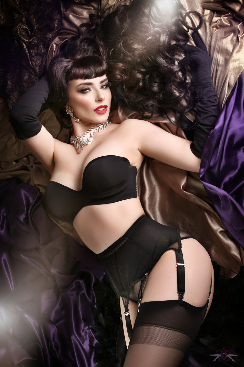 GLAM BY FIORE STORIA RANGE BLACK 20 DENIER SHEER HOLD UPS STAY UPS STOCKINGS