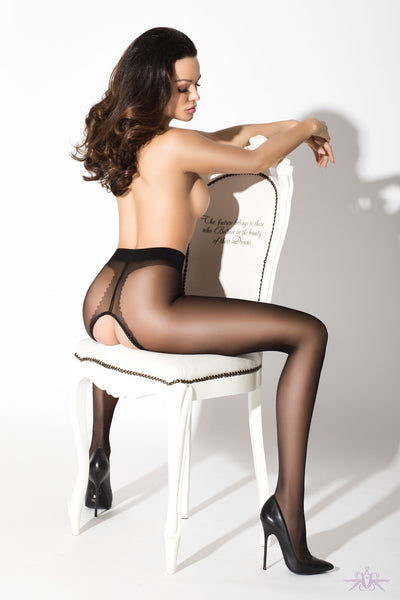 Amour gloss crotchless tights from Mayfair Stockings