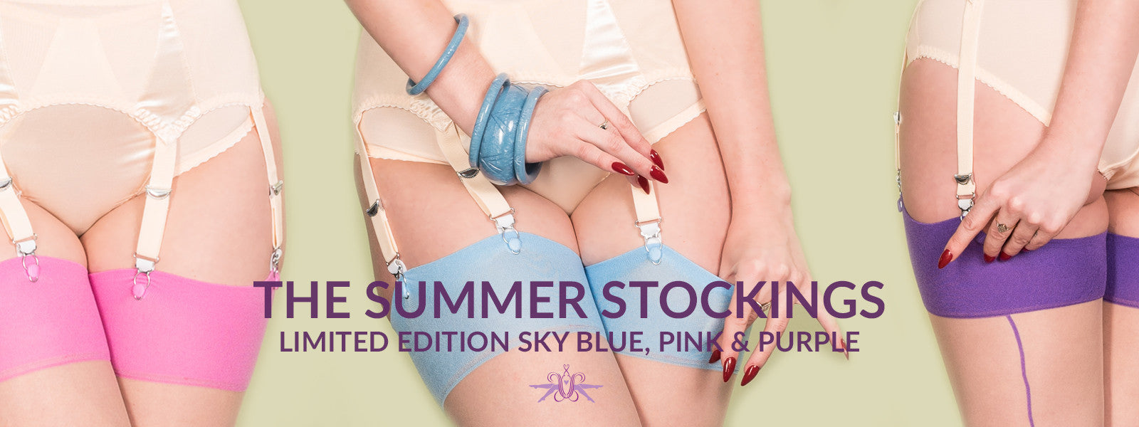 What Katie Did Summer Pastel Stockings in baby blue, pink and purple from Mayfair Stockings