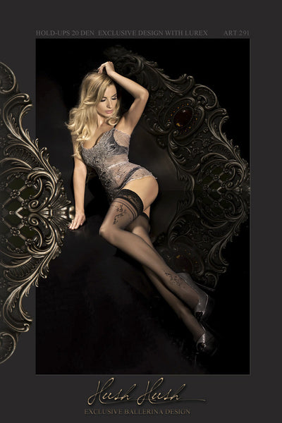 Ballerina Hush Hush Black Hold Ups - Mayfair Stockings