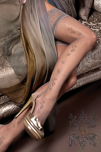 Ballerina Smoke Floral Hold Ups - Mayfair Stockings