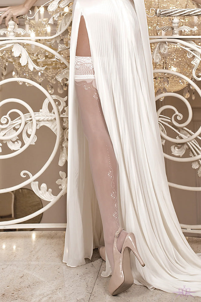 Ballerina Back Seam Bridal Hold Ups - Mayfair Stockings