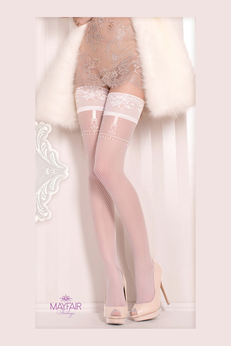 Ballerina Bridal Faux Suspender Hold Ups - Mayfair Stockings