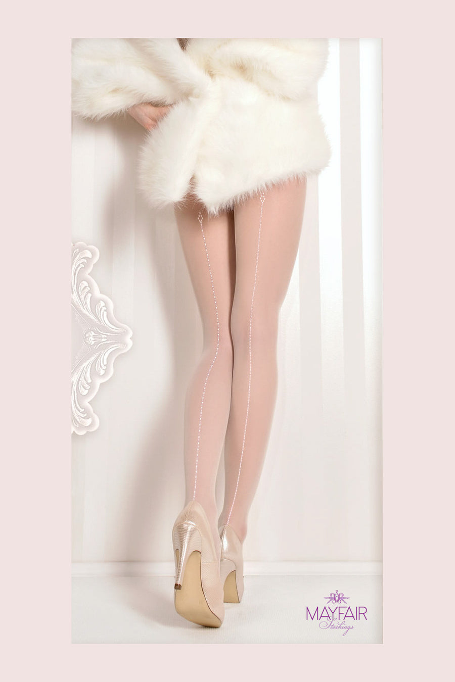 Ballerina Dotted Seam Bridal Tights - Mayfair Stockings