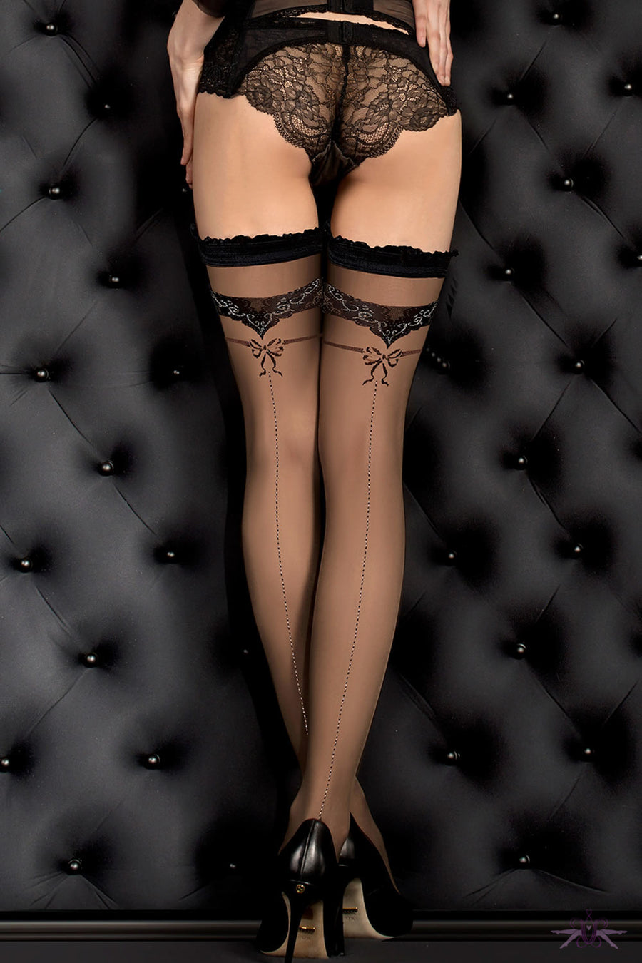 Ballerina Black Seamed Bow Hold Ups - Mayfair Stockings