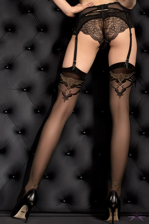 Ballerina Black and Gold Stockings - Mayfair Stockings - Ballerina - Stockings - 1