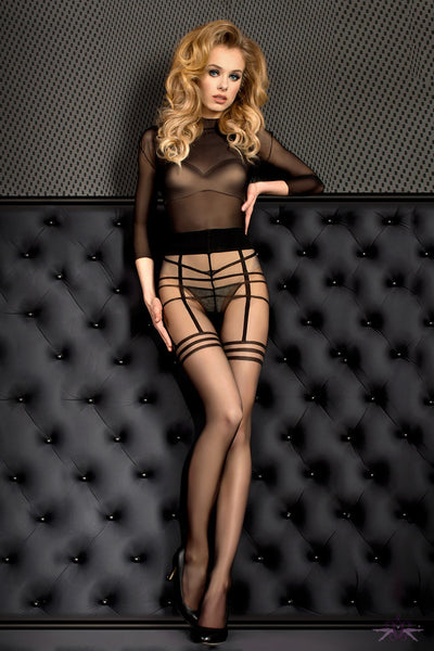 Ballerina Sheer Black Stripe Tights - Mayfair Stockings