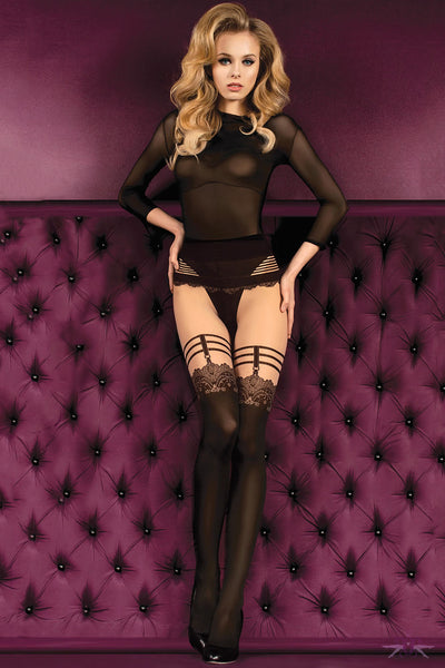 Ballerina Nude and Black Opaque Tights - Mayfair Stockings